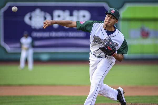Mike Moore | The Journal Gazette TinCaps pitcher Adrian Martinez pitches in the first inning against Bowling Green at Parkview Field on Saturday.