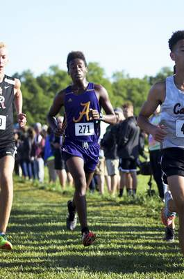 Katie Fyfe | The Journal Gazette Angola's Izaiah Steury finishes in fourth place during the Huntington North Invite at the Huntington University Course in Huntington, Indiana on Saturday.
