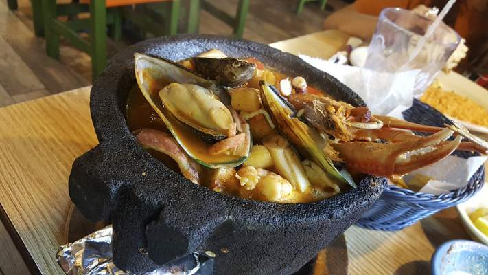 The Molcajete Loco from Mi Pueblo Mexican Restaurant on West Jefferson Blvd.