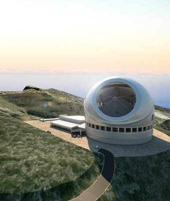 In this artist rendering provided by Thirty Meter Telescope, their proposed observatory is shown on the Observatorio del Roque de Los Muchachos in La Palma, Spain. (Thirty Meter Telescope via AP)