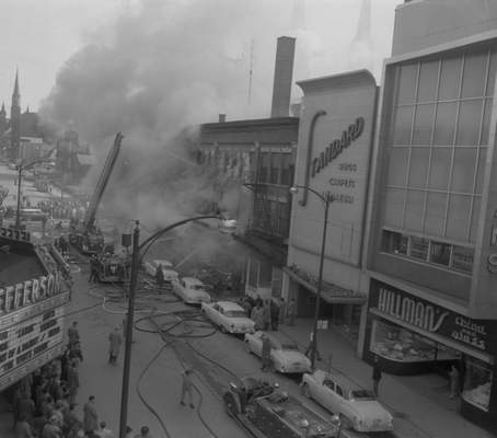 Feb. 19, 1957: Firefighters battled a blaze in thebuilding at Jefferson and Calhoun for six hours as thousands of people gathered to watch. (Journal Gazette file)