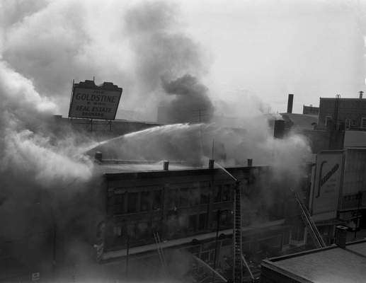 Feb. 19, 1957: A million gallons of water were used fighting a fire inthe building at Jefferson and Calhoun. (Journal Gazette file)
