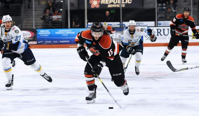 Katie Fyfe   The Journal Gazette: J.C. Campagna, seen here carrying the puck against Toledo last season, has been traded to Norfolk for future considerations, the Komets said today.