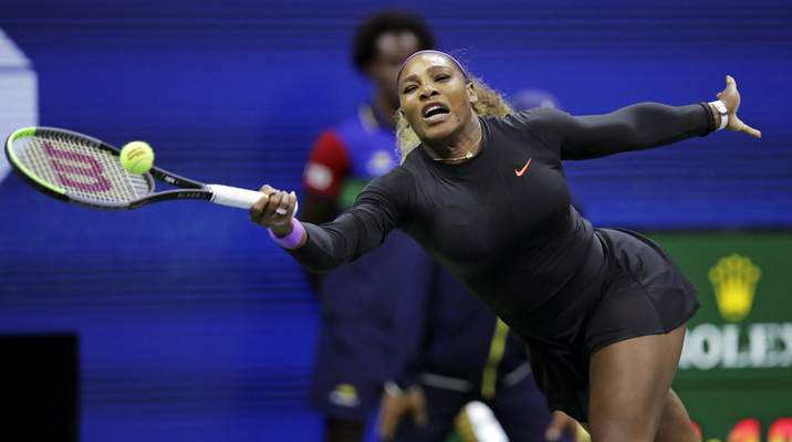 Serena Williams, of the United States, reaches for a shot from Caty McNally, of the United States, during the second round of the U.S. Open tennis tournament in New York, Wednesday, Aug. 28, 2019. (AP Photo/Charles Krupa)