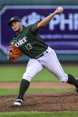 Mike Moore   The Journal Gazette TinCaps pitcher Jesus Gonzalez delivers to home against South Bend at Parkview Field on Thursday.