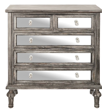 Recalled Black Wash Mirrored Chest with 5 drawers