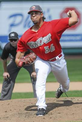Michelle Davies | The Journal Gazette TinCaps' Ramon Perez begins pitching in the sixth inning of Monday's game against Lansing at Parkview Field.