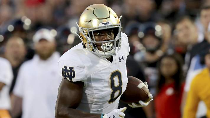 Notre Dame running back Jafar Armstrong during an NCAA football game on Monday, Sept. 2 , 2019 in Louisville , Ky . (AP Photo/Tony Tribble)