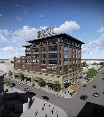 This artist's rendering shows the proposed Ruoff Home Mortgage headquarters downtown. (Courtesy)