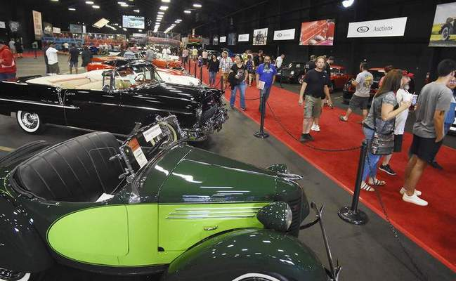 A row of classic cars on display for guests to check out at the RM Auctions Auburn Fall sale last weekend. (Rachel Von Stroup   The Journal Gazette)