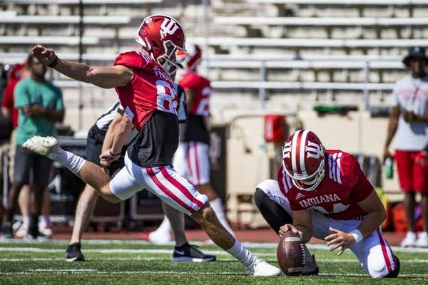 Courtesy Indiana University Indiana kicker Logan Justusset a personal record for his longest field goal made three times in the win last week.