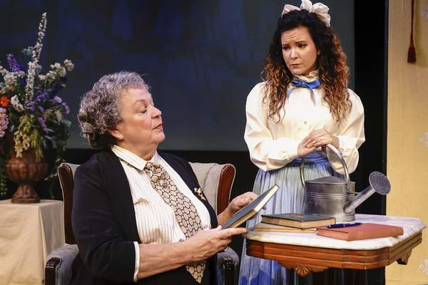 Mike Moore | The Journal Gazette  Marsha Wallace, left as Miss Prism and Kelly Maloneyin First Presbyterian Theater's production of