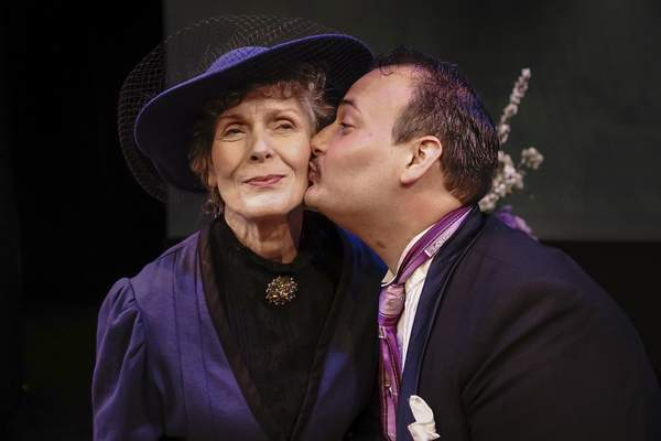 Mike Moore | The Journal Gazette  Kate Black, left as Lady Bracknell and Aaron Mann as Algernonin First Presbyterian Theater's production of