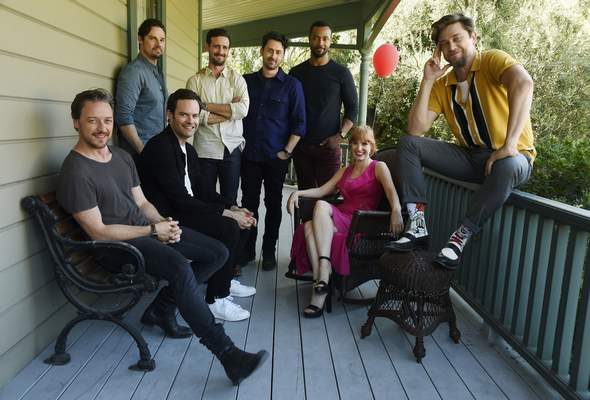 """Associated Press Andy Muschietti, far right, director of """"It Chapter Two,"""" poses with """"Loser Club"""" members, from left, James McAvoy, Jay Ryan, Bill Hader, James Ransone, Andy Bean, Isaiah Mustafa and Jessica Chastain in Los Angeles."""
