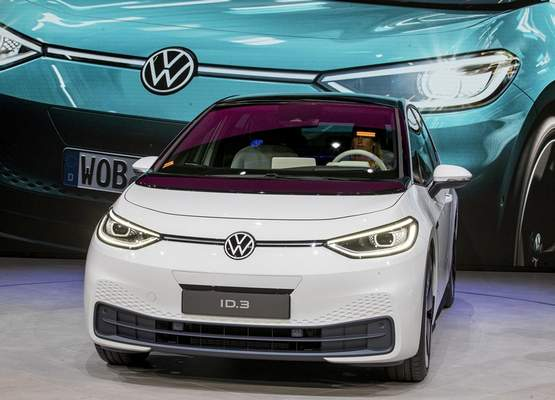 Associated Press The new Volkswagen ID.3 is displayed at the IAA Auto Show in Frankfurt, Germany, on Monday.