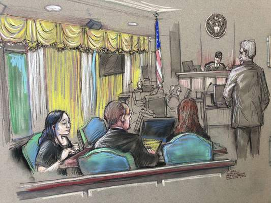 FILE - In this April 15, 2019, file court sketch, Yujing Zhang, left, a Chinese woman charged with lying to illegally enter President Donald Trump's Mar-a-Lago club, listens to a hearing before Magistrate Judge William Matthewman in West Palm Beach, Fla. (Daniel Pontet via AP, File)