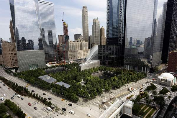 In this Sept. 9, 2019 photo, the World Trade Center is shown in New York. Wednesday, Sept. 11, 2019 marks the 18th anniversary of the terrorist attacks against the United States. (AP Photo/Mark Lennihan)