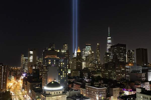 The Tribute in Light rises above the lower Manhattan skyline, Tuesday, Sept. 10, 2019 in New York. Wednesday marks the 18th anniversary of the terror attacks against the United States of Sept. 11, 2001. (AP Photo/Mark Lennihan)