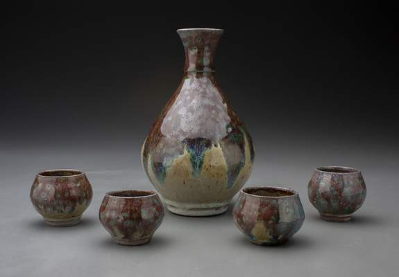"""Courtesy PFW student Katherine Gaff's """"Bleeding Sake Set"""" is among works in the State of Clay in Indiana exhibition."""