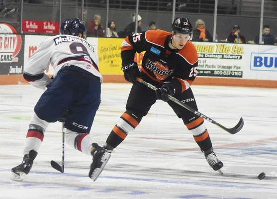 Rachel Von | The Journal Gazette: Jake Kamrass, seen here against Kalamazoo in December, was one of the Komets' top players last season. Kamrass has unexpectedly retired from hockey, the club has confirmed.