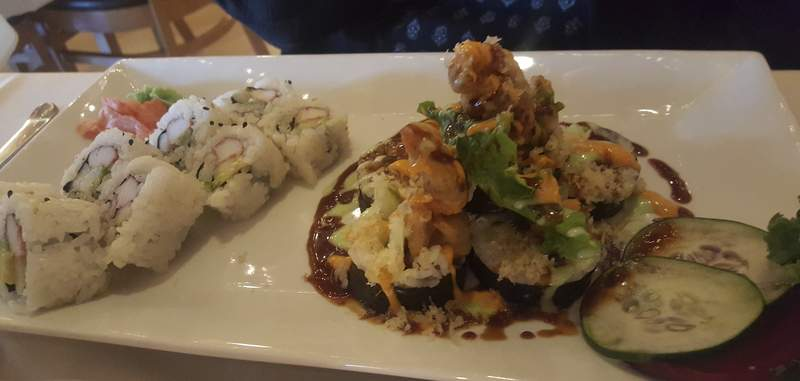 A California roll, left, and spider roll at Naked Tchopstix on West Jefferson Boulevard.