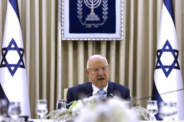 Israeli President Reuven Rivlin speaks during a consultation meeting with members of the Likud party, in Jerusalem, Sunday, Sept. 22, 2019. (Menahem Kahana/Pool via AP)