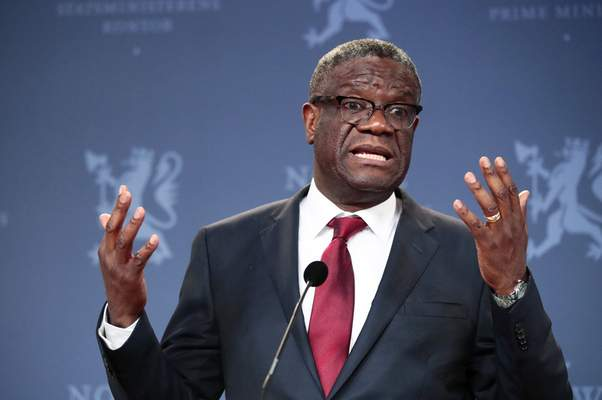 FILE - In this Dec. 11, 2018, file photo, Nobel Peace Prize laureate Dr. Denis Mukwege speaks to the media during a news conference in Oslo, Norway. (Lise Aserud/NTB scanpix via AP, File)