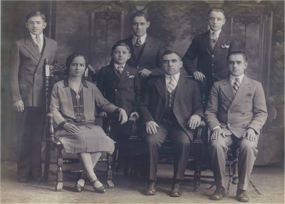 Ronald Duchovic's father, Julius Duchovic, is pictured standing at far right, with his mother, Josephine Gendjar; stepfather, Stephen Gendjar and four stepbrothers. The family came tothe U.S.from Czechoslovakia in the early 1930s.