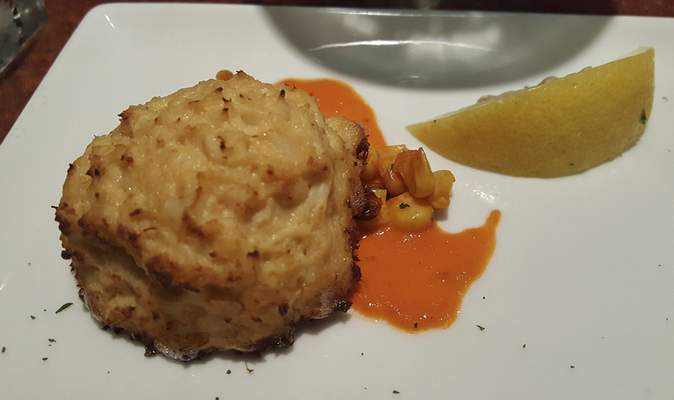 Crab cake from Cork 'N Cleaver on Washington Center Road.