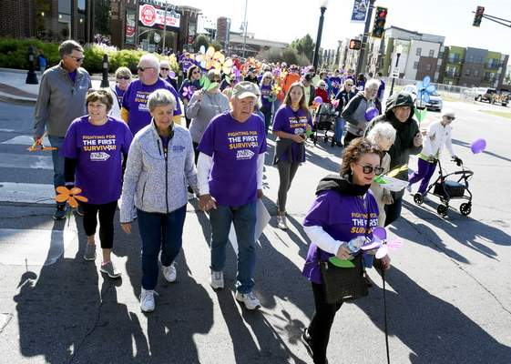 Photos by Rachel Von Stroup | The Journal Gazette About 1,500 to 1,700 people were expected to take part in Saturday's annual Memory Walk to End Alzheimer's at Parkview Field with a goal of raising $290,000.