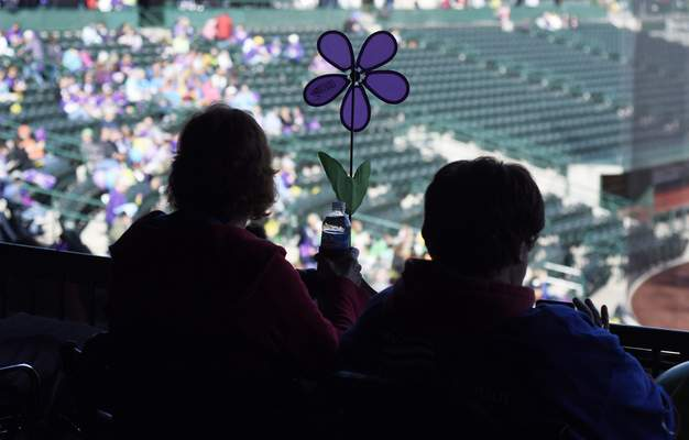 Rachel Von Stroup | The Journal Gazette Purple, the color for Alzheimer's awareness,  filled the downtown baseball field Saturday.