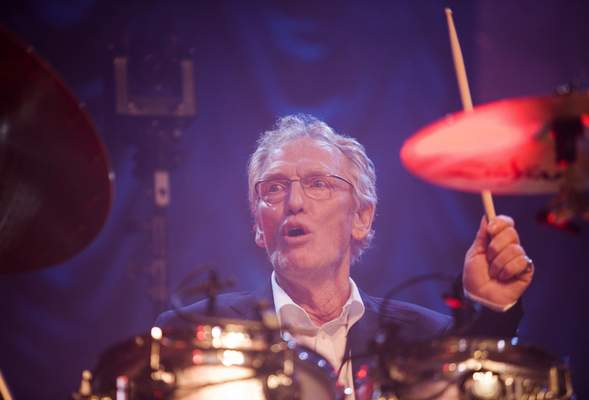 FILE - In this Sunday, Dec. 7, 2008 file photo, British musician Ginger Baker performs at the 'Zildjian Drummers Achievement Awards' at the Shepherd's Bush Empire in London. (AP Photo/MJ Kim, File)