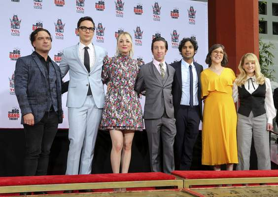 FILE - In this May 1, 2019, file photo, Johnny Galecki, from left, Jim Parsons, Kaley Cuoco, Simon Helberg, Kunal Nayyar, Mayim Bialik and Melissa Rauch, cast members of the TV series