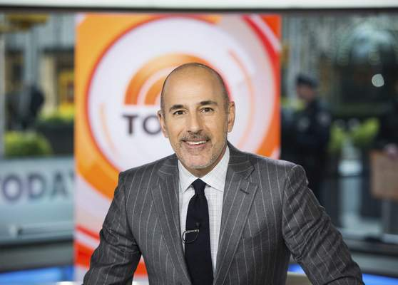 This Nov. 8, 2017 photo released by NBC shows Matt Lauer on the set of the