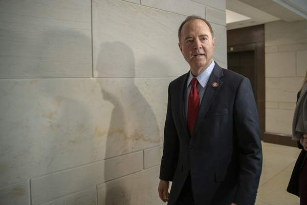 Rep. Adam Schiff, D-Calif., Chairman of the House Intelligence Committee arrives for a formerly planned joint committee deposition with Ambassador Gordon Sondland, with the transcript to be part of the impeachment inquiry into President Donald Trump, on Capitol Hill in Washington, Tuesday, Oct. 8, 2019. (AP Photo/Manuel Balce Ceneta)