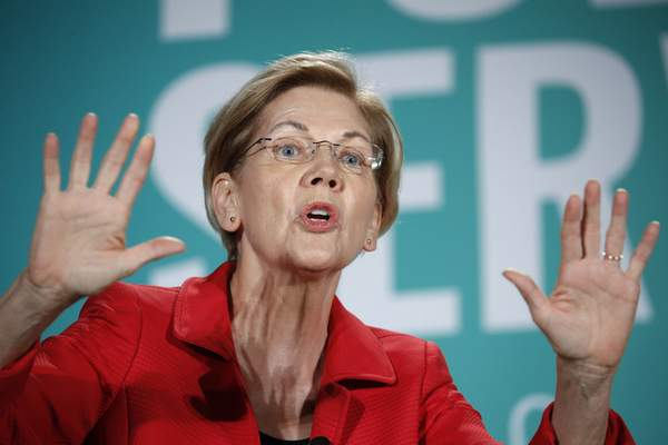 FILE - In this Aug. 3, 2019, file photo, Democratic presidential candidate Sen. Elizabeth Warren, D-Mass., speaks during a candidate forum on labor issues in Las Vegas. (AP Photo/John Locher, File)