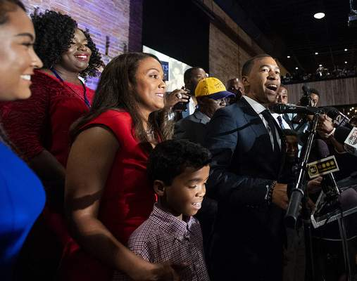 Montgomery Mayor-elect Steven Reed speaks at his victory party, Tuesday, Oct. 8, 2019, in Montgomery, Ala. (Mickey Welsh/Montgomery Advertiser via AP)