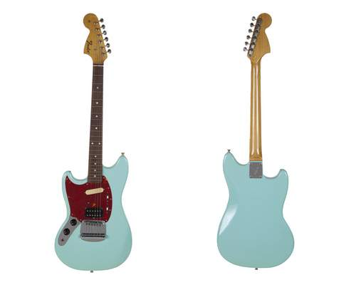 This combination photo of images released by Julien's Auctions shows the front and back of a turquoise-bodied left-handed Fender guitar built in 1993 and used by Nirvana frontman Kurt Cobain during the band's In Utero tour. (Julien's Auctions via AP)