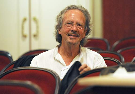 FILE - In this Friday Aug. 7, 2009 file photo, Austrian author Peter Handke attends a dress rehearsal of Samuel Beckett's and Peter Handke's drama
