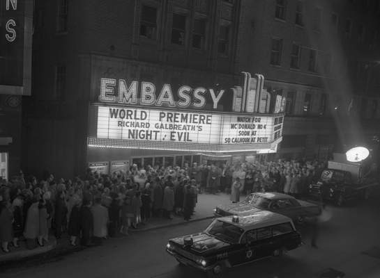 Jan. 27, 1962: A crowd gathers at Embassy Theatre for the premiere of Night of Evil, which was filmed in Fort Wayne.(Journal Gazette file photo)