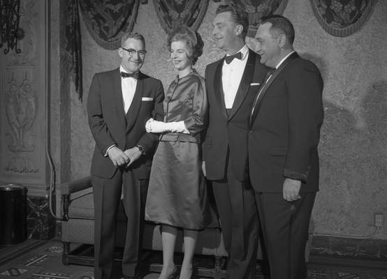 Jan. 27, 1962: Director Richard Galbreath, left, stands with Tippy and Chet Huntley and Jerry Lipow. Lipow was with Pathe America, the distributors of the movie.(Journal Gazette file photo)