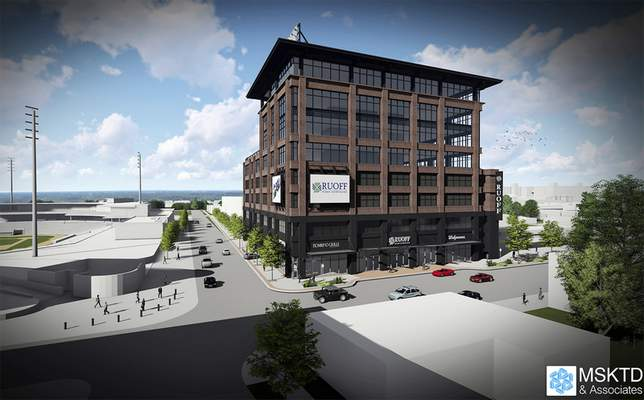 An artist's rendering shows Ruoff Mortgage's plan for its corporate headquarters in downtown Fort Wayne. (Courtesy)