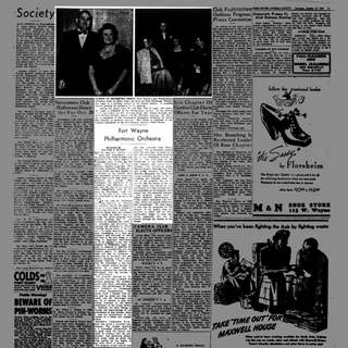 No Title The debut of the Fort Wayne Philharmonic Orchestra was reviewed on Oct. 19, 1944, byWalter E. Buszin on the Society page of The Journal-Gazette. (Journal Gazette file) (User: Windows NT/95/98 User)