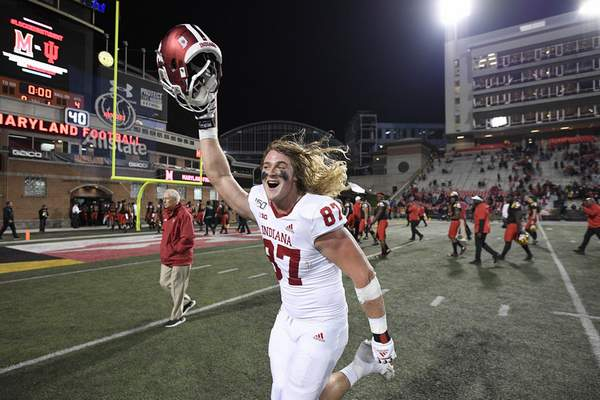 Associated Press Indiana defensive lineman Michael Ziemba celebrates after beating Maryland on Saturday in College Park, Md.