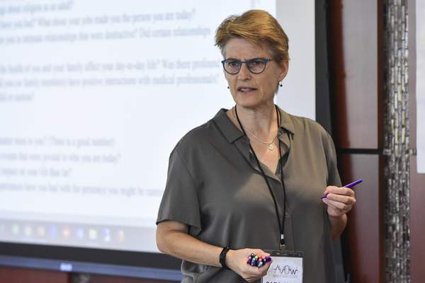 Mike Moore | The Journal Gazette  Sara Jane Rose, founder of Sally's List of Oklahoma, gives a presentation titled, It Starts With Your Story at Indiana Tech's Keene building for the AVOW Women's Campaign Institute in August.