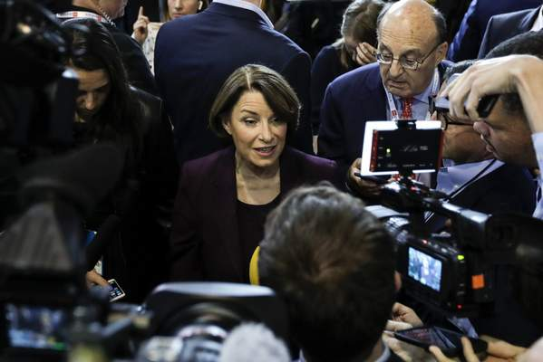 Democratic presidential candidate Sen. Amy Klobuchar, D-Minn., responds to questions following a Democratic presidential primary debate hosted by CNN/New York Times at Otterbein University, Tuesday, Oct. 15, 2019, in Westerville, Ohio. (AP Photo/Tony Dejak)