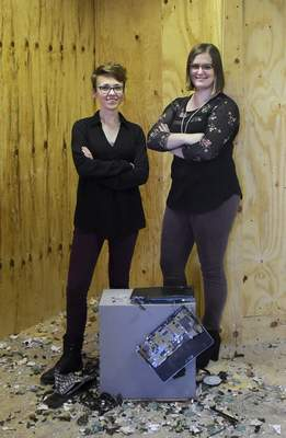 Photos by Katie Fyfe | The Journal Gazette  All the Rage co-owners Brianna Dailey , left, and Abby Greutman say their rage rooms are a good way to relieve stress and hope to grow the business.