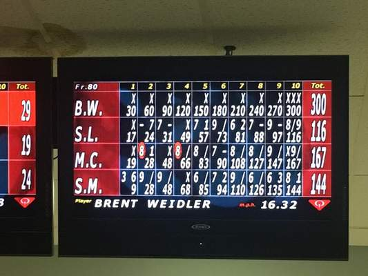 The scorecard from Weidler's perfect game, rolled during a  Special Olympics practice round at Pro Bowl West.