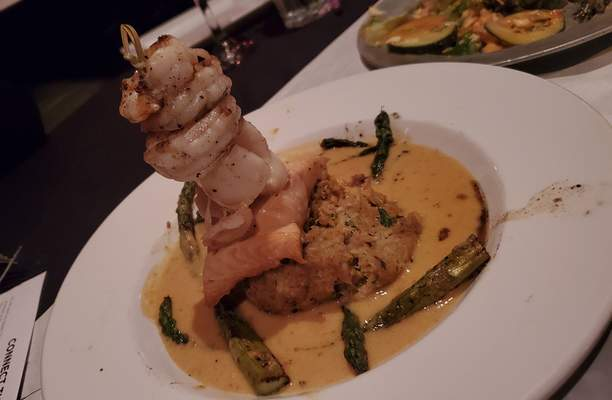 The seafood tower with a shrimp add-on at Trolley Steaks & Seafood on Dupont Road.