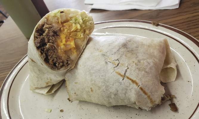 A deluxe burrito from Tropic Chicken on East State Boulevard.